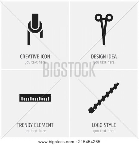 Set Of 4 Editable Equipment Icons. Includes Symbols Such As Bore, Surgical Scissors, Sheave And More
