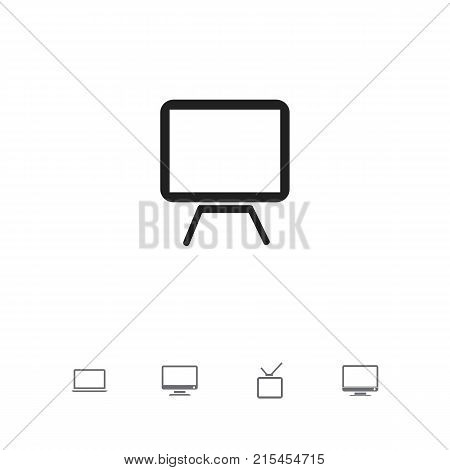 Set Of 5 Editable Instrument Icons. Includes Symbols Such As Monitor, Tv, Telly And More