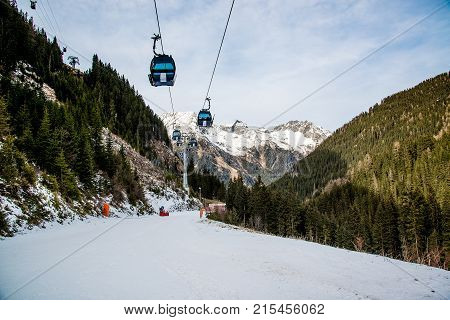 Cableway in the Alps mountains. Austria Ischgl