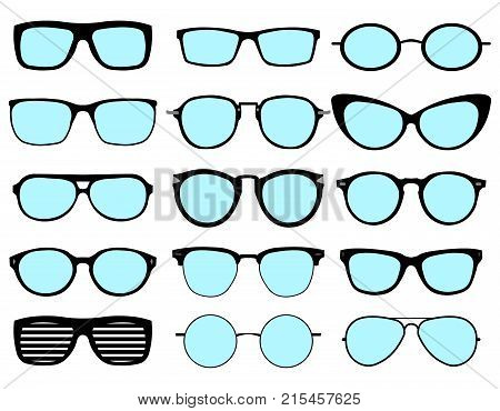 A set of glasses isolated. Vector glasses model icons. Sunglasses, glasses, isolated on white background. Various shapes - stock vector. EPS