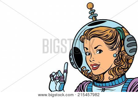 Girl astronaut isolated on white background. Comic book cartoon pop art retro vector illustration drawing