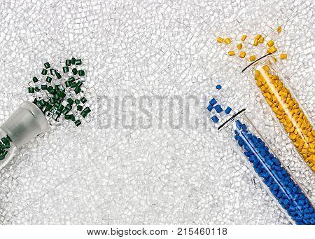 Polymeric dye. Plastic pellets. Colorant for plastics. Pigment in the granules.