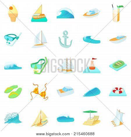 Algae icons set. Cartoon set of 25 algae vector icons for web isolated on white background