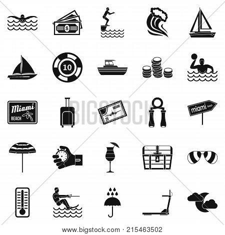 Aquatics icons set. Simple set of 25 aquatics vector icons for web isolated on white background