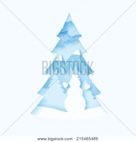 3d abstract pastel paper cut illustration of snowman. Vector colorful template greeting card in carving art style. Eps10.