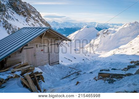 Toilets in the Presset refuge in the winter in France