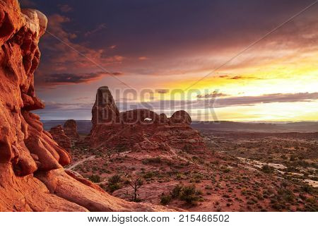 North Window Arch and Turret Arch at sunset, Arches National Park, Utah, USA