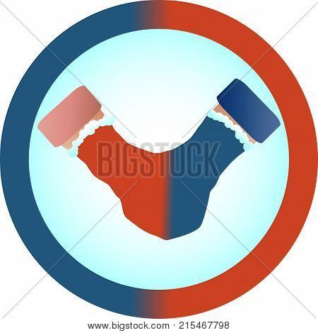 The concept of love and relationship is one mittens for two. Red and blue mittens for two as a symbol of hetero-relationships sympathy for men and women.