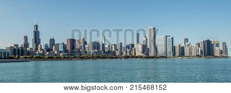 City of Chicago Skyline and the Lake Michigan. Chicago Waterfront. Illinois United States of America. Panoramic Photo.