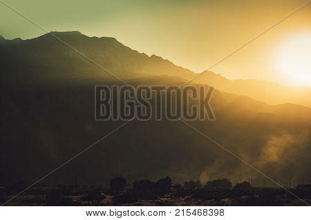 Sunset in the Coachella Valley Near Palm Springs California United States of America. Scenic Mountains Vista. San Jacinto Mountains. poster