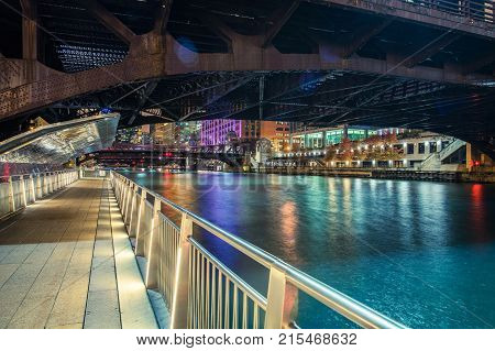 Downtown Chicago Riverwalk at NIght. Chicago Illinois United States of America.