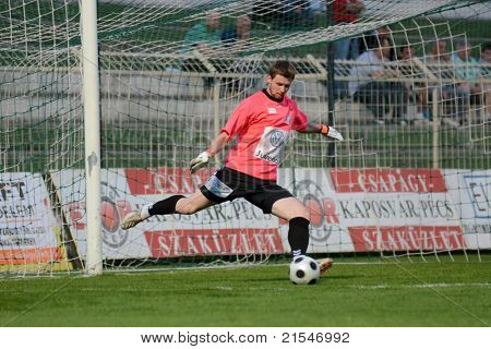 KAPOSVAR, HUNGARY - MAY 14: Melnichenko Vitalijs in action at a Hungarian National Championship soccer game - Kaposvar vs Szolnok on May 14, 2011 in Kaposvar, Hungary.