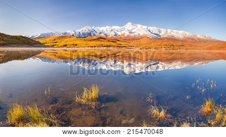 Morning at Mountain Lake. Reflections in water. Altai. Siberia