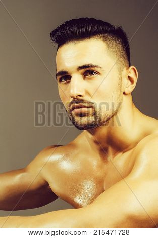 Handsome Muscular Man On Wooden Bench