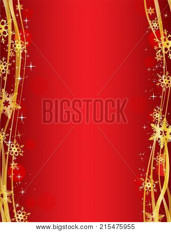 Christmas party background with Ornate golden snowflakes on red background - Possible to create holiday cards or banner.