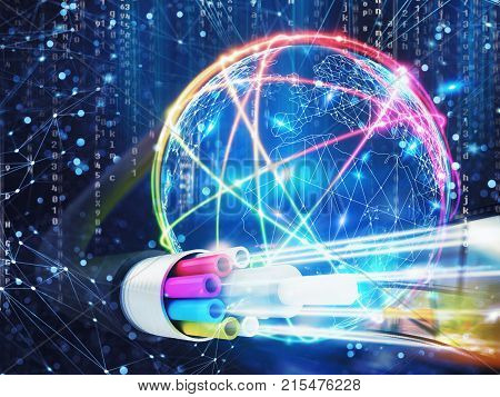 Concept of global fast internet infrastructure around the world. 3D Rendering
