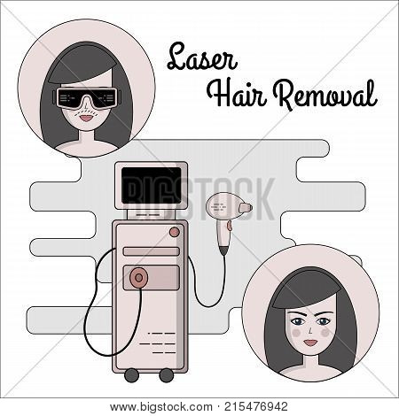 Vector flat illustration of the process of laser hair removal. Equipment and accessories for electro, photo and laser hair removal. Before and after.