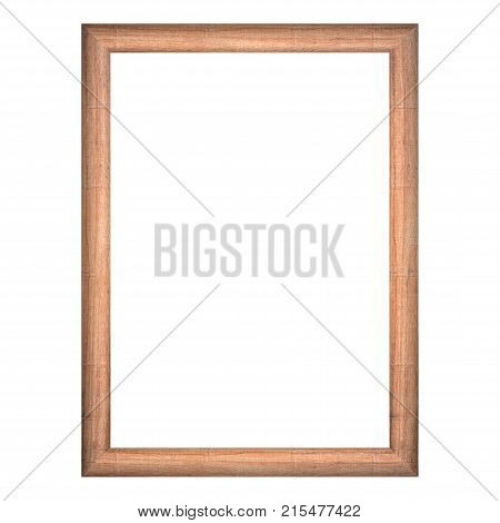 wooden frame with isolated white background. front view of classic wooden frame. for A4 image or text.