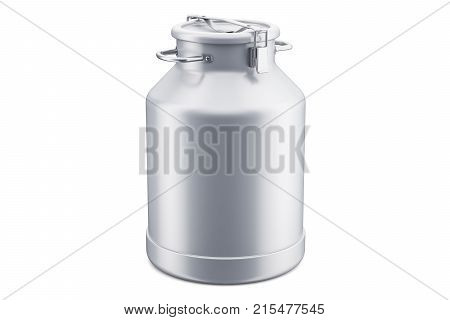 Milk can 3D rendering isolated on white background