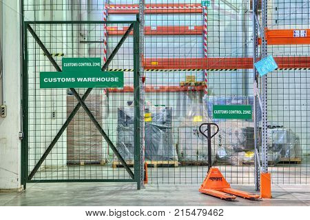 St. Petersburg Russia - July 27 2017: Custom bonded warehousing customs control area in the temporary storage warehouse.