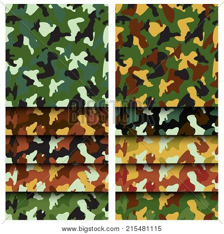 Camouflage clothing seamless patterns set. Collection military camo various color combination. Vector illustration.