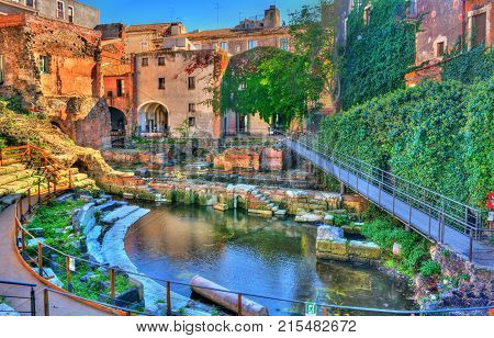 Greek-Roman Theatre of Catania in Sicilia - Italy