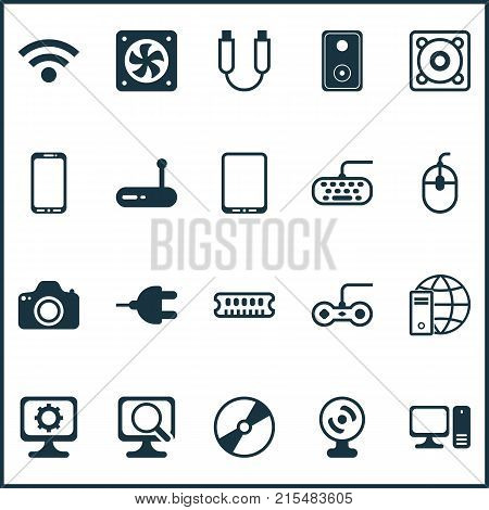 Hardware icons set with computer keypad, portable memory, smartphone and other camera elements. Isolated vector illustration hardware icons.