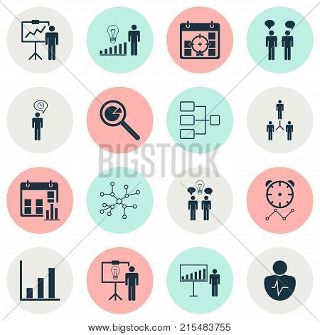 Board icons set with planning, project analysis, co-working and other co-working elements. Isolated vector illustration board icons.