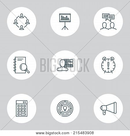 Management icons set with investment, collaboration, announcement and other time management elements. Isolated vector illustration management icons.