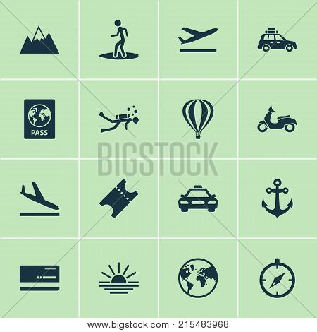Exploration icons set with arrival, scooter, planet and other coupon elements. Isolated vector illustration exploration icons.