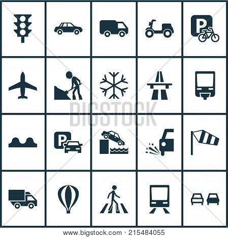 Transportation icons set with slippery, freeway, parking for bike and other van elements. Isolated vector illustration transportation icons.