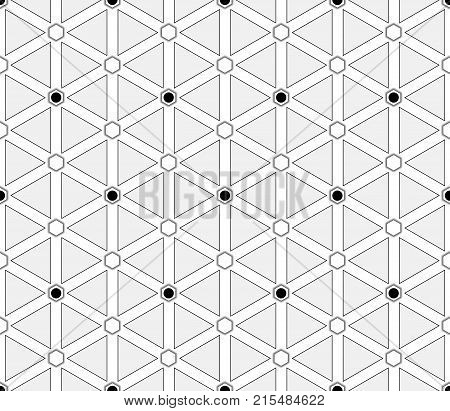 Retro-futuristic, layered seamless pattern with bright triangles and diamonds and hexagons with black and white hexagons that are inscribed with circles at the intersections of the lines