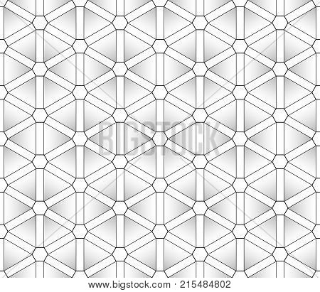 Classic stylized seamless pattern of gradient triangles in black outline, which visually form the hexagons in the intersections and each other