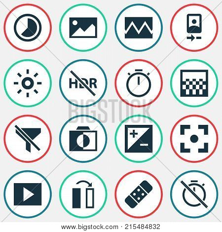 Photo icons set with photo, no filter, accelerated and other picture elements. Isolated vector illustration photo icons.