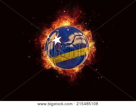 Football In Flames With Flag Of Curacao
