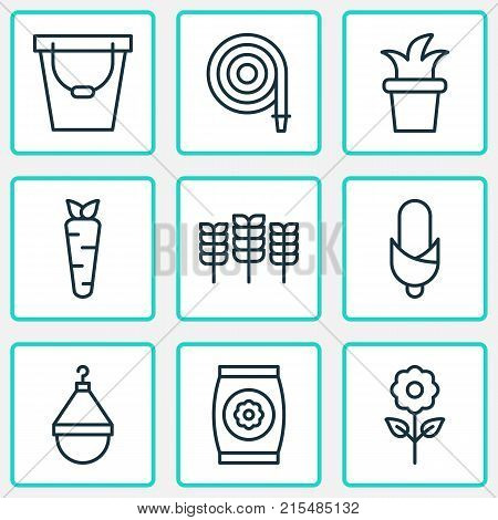 Farm icons set with pail, maize, fertilizer and other fertilizer elements. Isolated vector illustration farm icons.