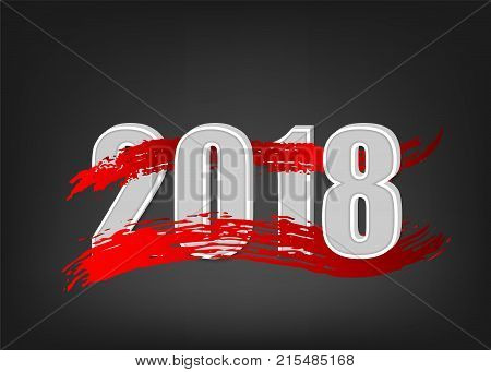 Abstract new 2018 year banner. Greeting paint splash modern banner. Winter red wave greeting poster. Vector colored new Year invitation. Blob grunge colorful brush text. Festive vector illustration.
