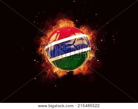 Football In Flames With Flag Of Gambia