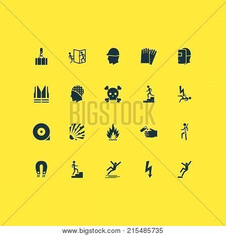 Safety icons set with safety harness, staircase, attention and other welding mask elements. Isolated vector illustration safety icons.