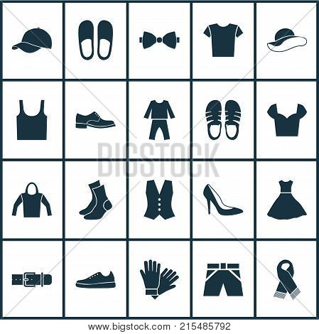 Garment icons set with singlet, trilby, sundress and other casual elements. Isolated vector illustration garment icons.