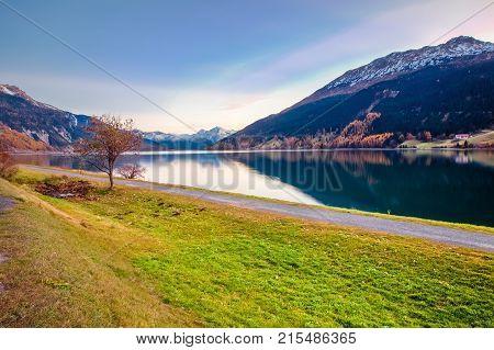 Sunset at Resia Lake Italian Alps Dolomites