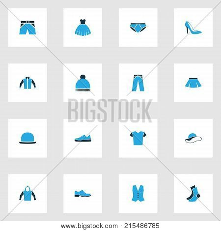 Garment colorful icons set with panama, evening gown, beanie and other t-shirt elements. Isolated vector illustration garment icons.