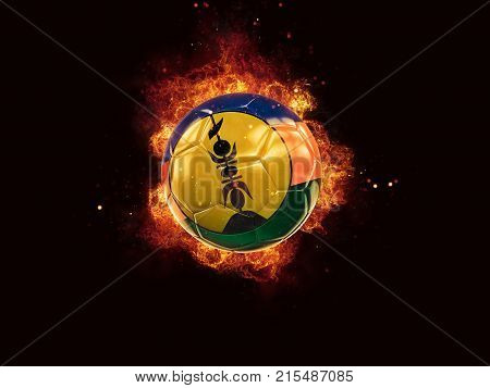 Football In Flames With Flag Of New Caledonia