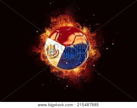 Football In Flames With Flag Of Sint Maarten