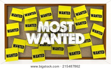 Most Wanted Desired List Bulletin Board Sticky Notes 3d Illustration