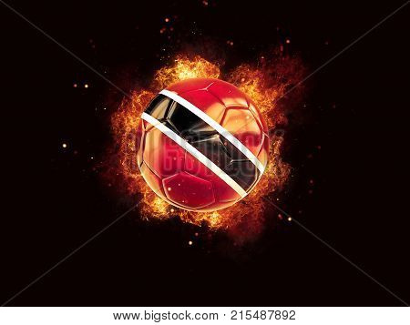 Football In Flames With Flag Of Trinidad And Tobago