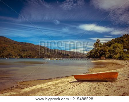 View Over Fiord With Boats Marlborough Sounds