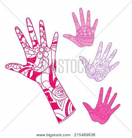 Hand. Arm. Hand drawn abstract patterns on isolation background. Design for spiritual relaxation for adults. Line art creation. Print for polygraphy, posters and textiles. Outline for t-shirts