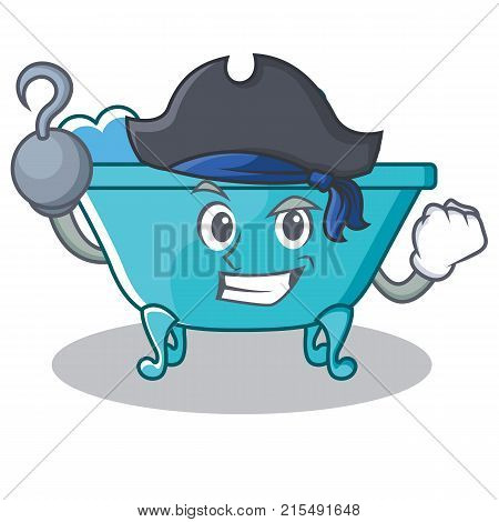 Pirate bathtub character cartoon style vector illustration