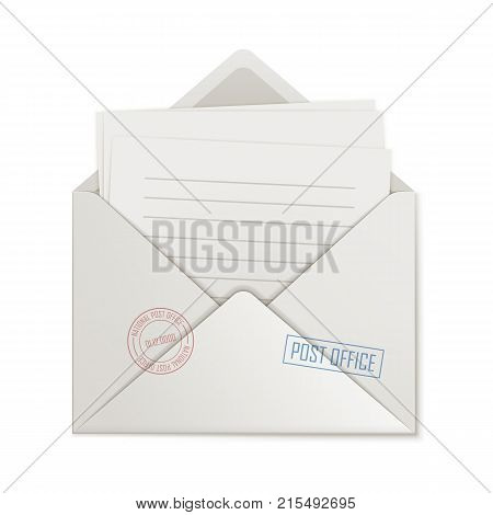 Uncovered envelope, few lined paper, isolated. Cover close-up with missive inside. Opened message, blank form, vector illustration